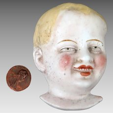 Antique German Bisque Flat Face Doll Head