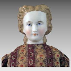1870s C.F. Kling Parian Bisque Doll with Snood 18 inches