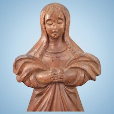 Early Carved Wood Figure of Woman 15 inches