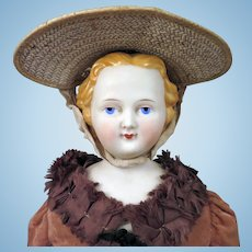 Antique German Blond Flat top China Head Doll 25 inches