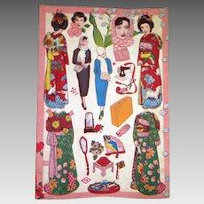 1950s Vintage Japanese Paper Doll Sheet Uncut