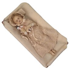 Antique Poured Wax Child Doll 9 inch in Bed - Red Tag Sale Item