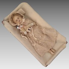Antique Poured Wax Child Doll 9 inch in Bed