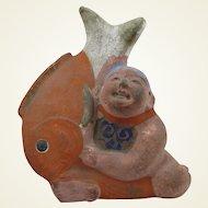 Japanese Boy with Fish Doll Figure Hakata Pottery Meiji Era