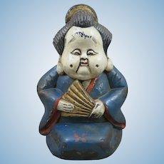 Japanese Wood Ofukusan Naughty Doll Figure