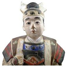 Japanese Samurai Man Hakata Pottery Doll Figure Meiji Era