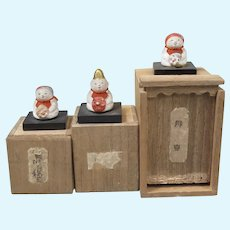 3 Japanese Miniature Dolls in Original Boxes 1920s
