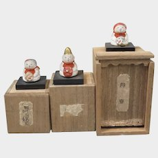 3 Japanese Miniature Dolls in Original Boxes 1920s