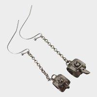 Sterling Silver Buckle Dangle Earrings