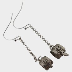 Sterling Silver Buckle Dangle Earrings