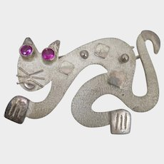 Sterling Silver Cat Brooch with Ruby Eyes