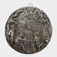Antique Pub Scene Sterling Silver Pendant Brooch