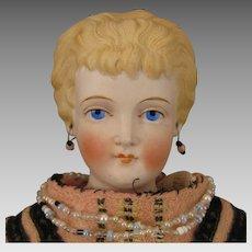 17 inch Antique German Conta Boehme Fancy Hair Parian Bisque Doll