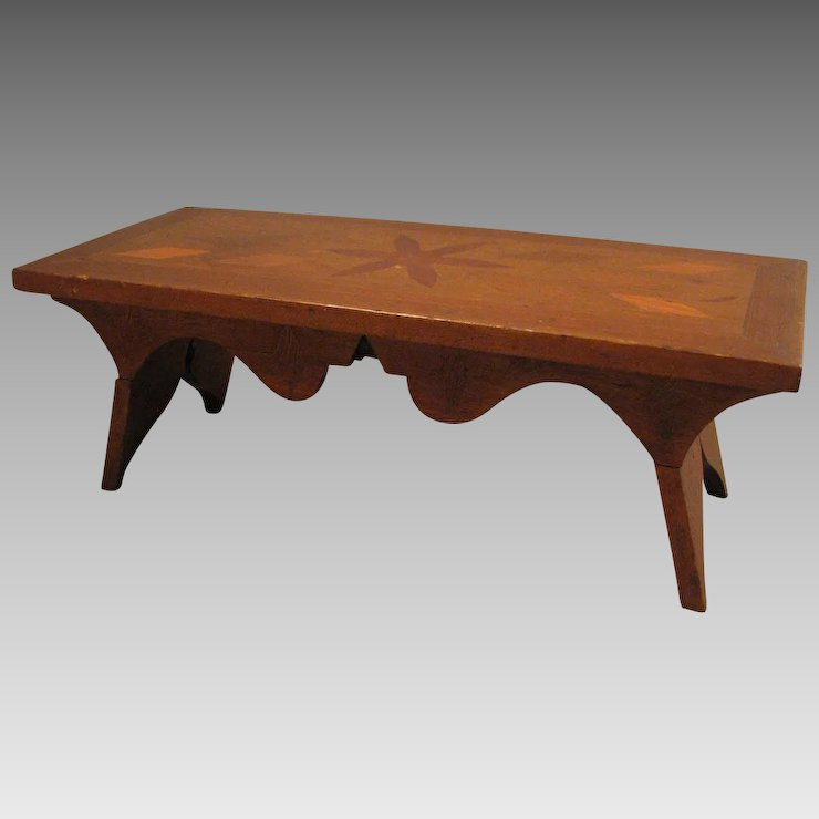 Antique Wood Inlay Doll Size Table Or Bench