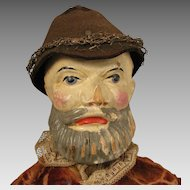 19th c. Jointed Wood Man Puppet Doll 16 inch