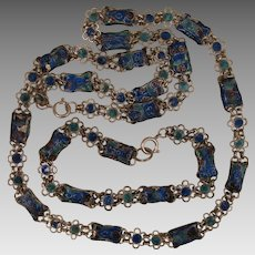 Chinese Enamel Necklace and Bracelet Chain Vintage Set