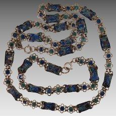 Chinese Enamel Necklace and Bracelet Chain Vintage Set