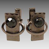 Atomic Mid Century Modern Sterling Hematite Cufflinks