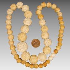 22 inch Antique Carved Meerschaum Bead Necklace