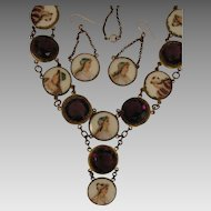 Antique Necklace plus Earrings with Painted Porcelain Ladies