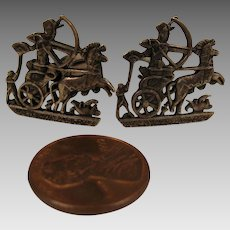 Vintage Roman Gladiator on Chariot Sterling Silver Cufflinks