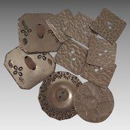 10 Vintage Handmade Aluminum Buttons