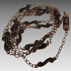 Antique Chinese Export Silver Black Enamel Necklace Chain 22 inch