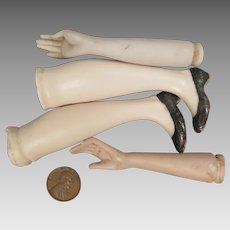 Set of Early 1900s Bisque Doll Arms and Legs