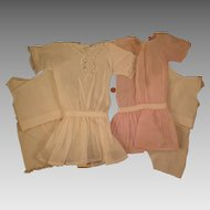 2 Antique Dresses plus Unders for Bisque 20 inch Doll