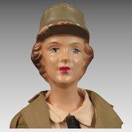 1942-43 Freundlich Composition US Army WAAC Doll 15 inch