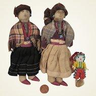 Family of Early Cloth Navajo Dolls