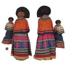 Pair Seminole Indian Palmetto Dolls