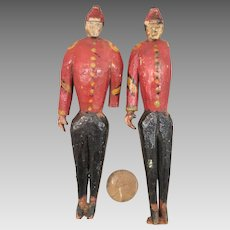 Pair Antique Wooden Soldier Dolls 4.5 inch