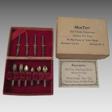 Vintage MinToy Sterling Silverware Boxed Set for Doll or Doll House