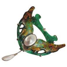 Arts & Crafts Sterling Enameled Pearl Brooch