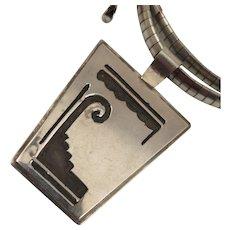 Vintage Sterling Silver South Western Pendant Necklace