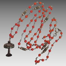 Antique Lamp Pendant on Sterling and Coral Glass Necklace