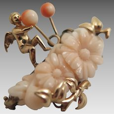 Angel Skin Coral Carved Flower Brooch with Cupid