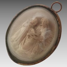 Victorian Mother and Child Meerschaum Pendant