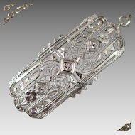 Art Deco 10 and 14K White Gold Diamond Pendant Necklace