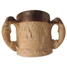 Antique Salt Glazed Bennington 3 Handle Loving Cup