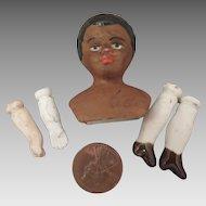 Antique Black Bisque Doll Head plus Limbs Set