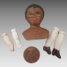 Antique Black Bisque Doll Head plus Limbs Set