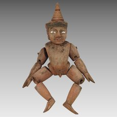 Antique Nude Wooden Puppet Doll Burma 11 inch