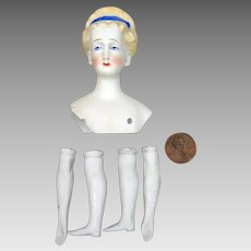 Antique Parian Bisque Eberlein Doll Head plus Limbs