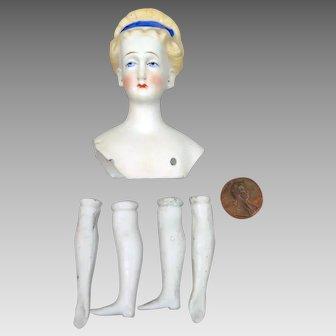 Antique Parian Bisque Eberlein Doll Head plus Limbs
