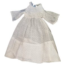 Antique White Cotton Dotted Swiss Dress plus Petticoat for 20 inch Doll