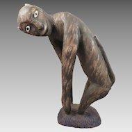 Vintage Folk Art Carved Wood Monkey