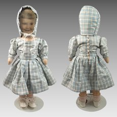 Vintage 1950s Photo Face Oil Cloth Doll 16 inches
