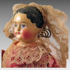 1850s Papier Mache Doll in original Dutch Costume 12 inches